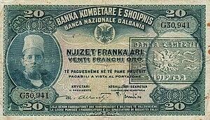 Albanian Kingdom (1943–44) - Albanian 20-franc note.