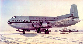 22d Airlift Squadron - 22d Troop Carrier Squadron Douglas C-124A-DL Globemaster II 51–118 at a snowy airfield, 1952