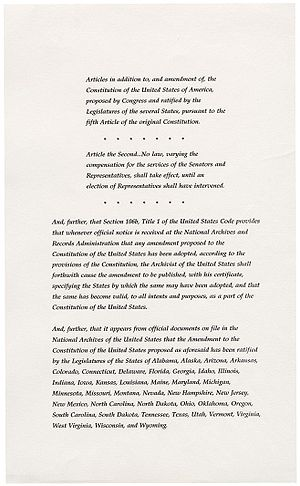 Twenty-seventh Amendment to the United States Constitution