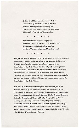 Twenty-seventh Amendment to the United States Constitution - Image: 27th Amendment Pg 2of 3 AC