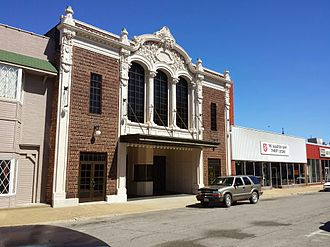 Moberly, Missouri - The facade of the historic 4th Street theater in downtown Moberly. Built in 1913; one of the oldest still working movie theaters.