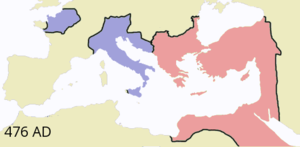 Kingdom of Soissons - Kingdom of Syagrius (North-West) within the Western Roman Empire (blue)