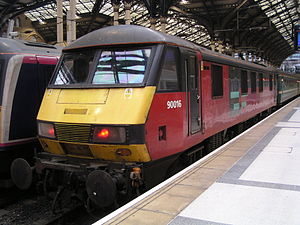Rail Express Systems - Rail Express Systems livery as carried by Class 90 electric locomotive no. 90016 at London Liverpool Street on 6 March 2004