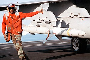 AGM-88 HARM - An AGM-88 HARM missile loaded aboard an F/A-18C