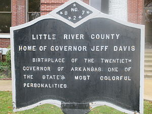Jeff Davis (Arkansas governor) - Historical marker of the birthplace of Governor Jeff Davis