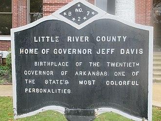 Jeff Davis (Arkansas governor) - Historical marker of the birthplace of Governor Jeff Davis