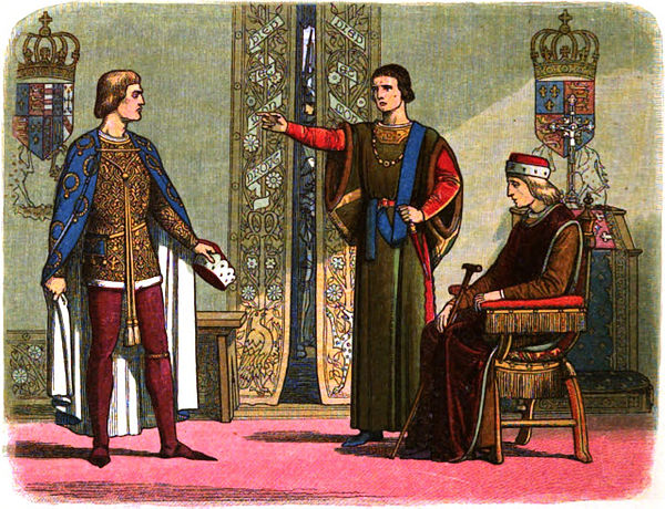 Henry VI (right) sitting while the Dukes of York (left) and Somerset (center) have an argument. A Chronicle of England - Page 400 - Henry VI and the Dukes of York and Somerset.jpg