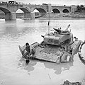 A Sherman tank being recovered from the river Biferno near Campo-Marino, Italy, October 1943. NA7725.jpg