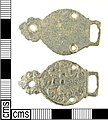 A complete Early Post Medieval copper alloy dress hook with a white metal coating (1500-1600 AD). (FindID 273118).jpg