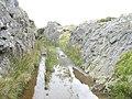 A flooded cutting on the Rhiwbach Tramroad south of Cwt y Bugail Quarry - geograph.org.uk - 573192.jpg