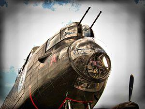 A gun turret on a restored WW2 Lancaster bomber -b.jpg