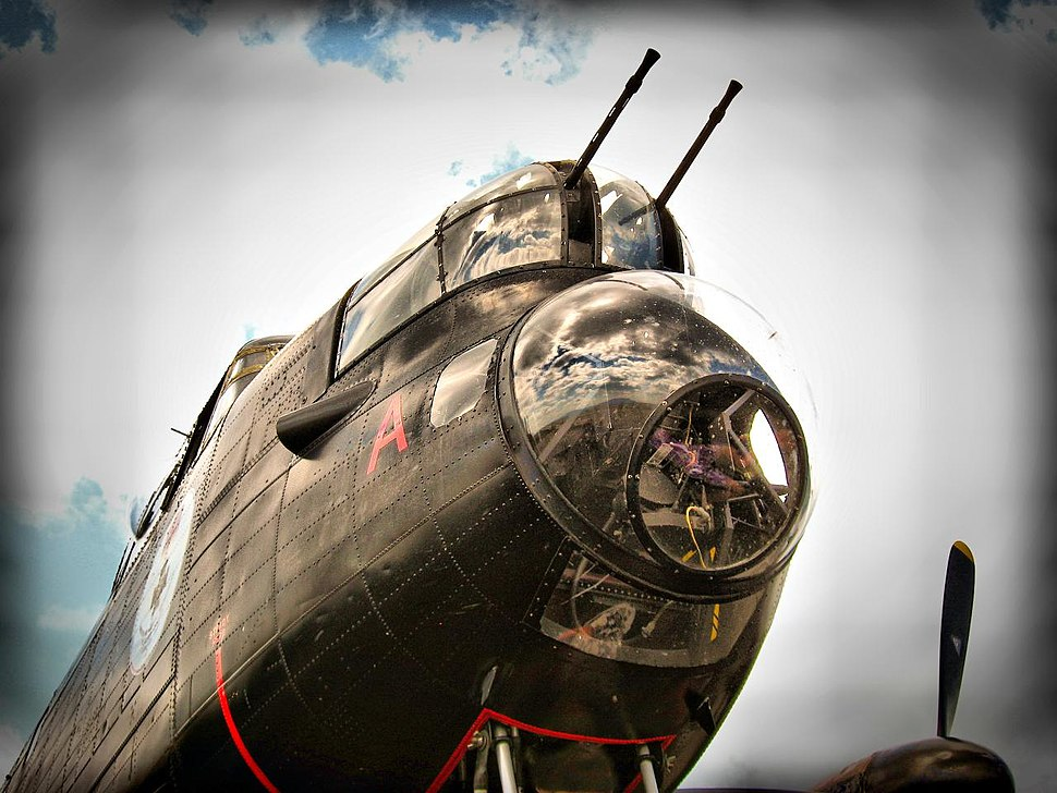 A gun turret on a restored WW2 Lancaster bomber -b