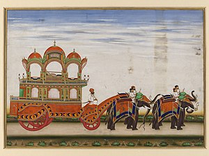 Carriage - A two-tiered carriage drawn by four elephants
