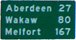 Saskatchewan Highway 41 - Aberdeen, Wakaw, Melfort distance signage from Hwy 5 in Saskatoon