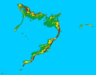 Crooked Island, Bahamas - Topographic map of Acklins Island and Crooked Island.