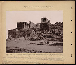 Temple of Athena Nike - An 1893 photograph of the Acropolis showing the Beulé Gate, Propylaea and the Temple of Athena Nike