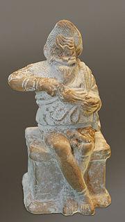 Esclavo de teatro sentado sobre un altar, vaciando el monedero que acaba de robar, h. 400-375a.C., museo del Louvre.