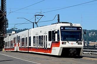 MAX Light Rail - A westbound Type 2 Blue Line train seen crossing the Steel Bridge in Portland