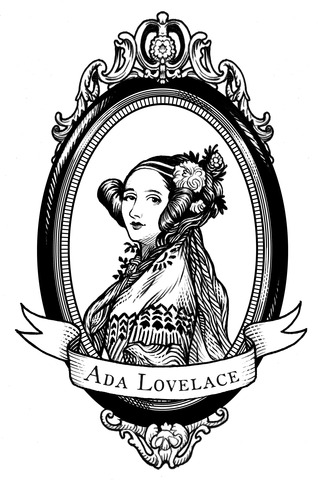 Image shows a black and white drawn portrait of Ada Lovelace in an oval shaped border with her name across the bottom