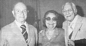 Adonias Filho - Adonias Filho (on the left) with friends, Brazilian writers Rachel de Queiroz (center), and Gilberto Freyre (right).