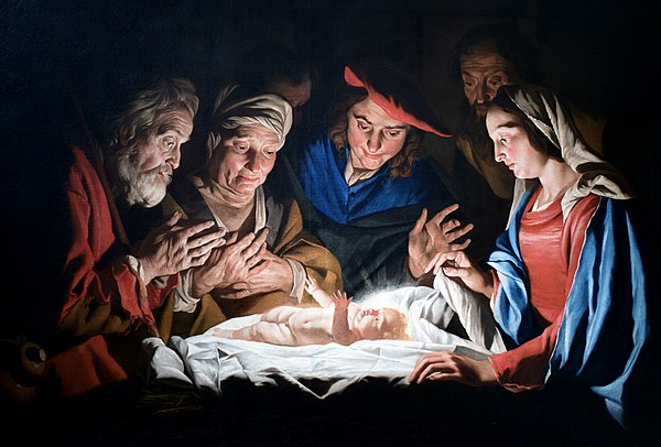 Adoration of the Shepherds by Dutch painter Matthias Stomer, 1632 Adoration of the sheperds - Matthias Stomer.jpg