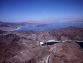Aerial view of Boulder Dam with Lake Mead in the background Image. Boulder City, Nevada LCCN2011631859.tif