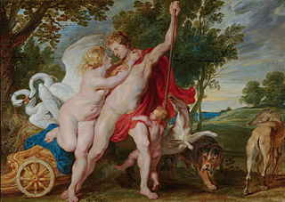 Venus trying to prevent Adonis from going hunting