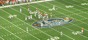 Alabama Crimson Tide football under Nick Saban - Alabama lines up on defense during their 34–10, season opening victory against Clemson at the Georgia Dome.