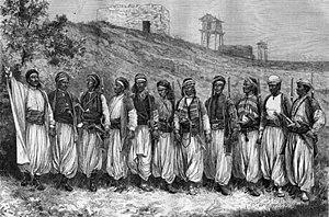 Dabke - Men dancing dabke, 1880