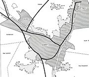 Black and white map shows the boundaries of Albany and surrounding municipalities, crossed with dark black lines representing planned interstate highways.