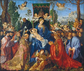 Feast of the Rosary - Image: Albrecht Dürer Feast of Rose Garlands Google Art Project