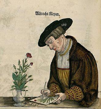 "Albrecht Meyer - Selfportrait from ""De historia stirpium commentarii insignes"""