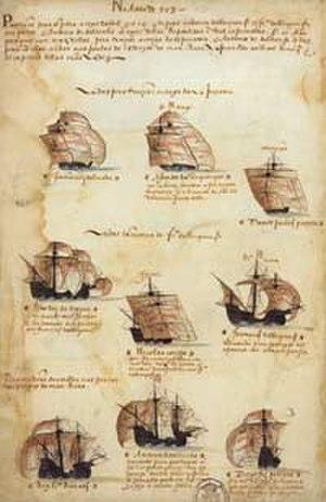5th Portuguese India Armada (Albuquerque, 1503) - Depiction of the 5th India Armada (Albuquerque, 1503), from the Memória das Armadas