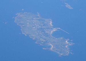 The Swinge - Aerial shot of Alderney (centre) and Burhou (upper right), with the Swinge in between