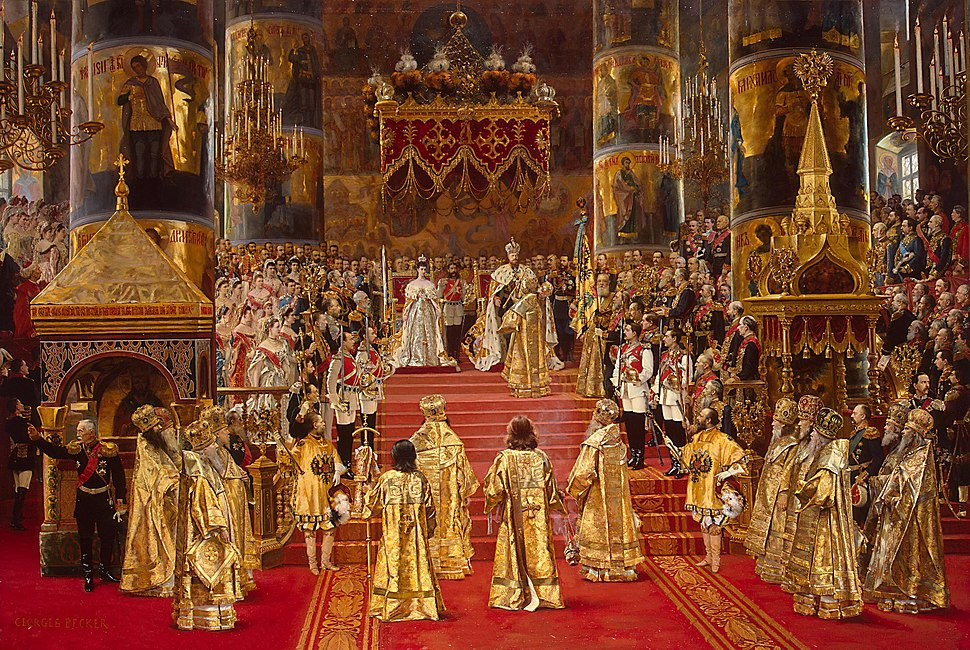 Alexander III and Maria Fedorovna's coronation by G.Becker (1888, Hermitage)