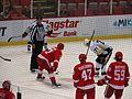 Alexei Marchenko and Tyler Bertuzzi Await Faceoff, Detroit Red Wings vs. Pittsburgh Penguins, Joe Louis Arena, Detroit, Michigan (21703224085).jpg