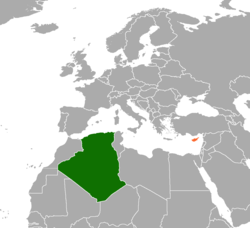 Map indicating locations of Algeria and Cyprus