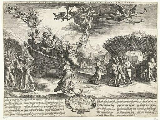Allegorie op de overwinning op Spanje tijdens de slag bij Nieuwpoort, 1600 Elenchus rerum, deo auspice, a confoederatis Belgis praeclare gestarum (titel op object), RP-P-OB-70.090