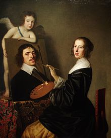 """Allegory of Painting"" by Gerard van Honthors. Painting of a woman painting a portrait of a man, with the canvas supported by a cherub;all looking at the viewer."