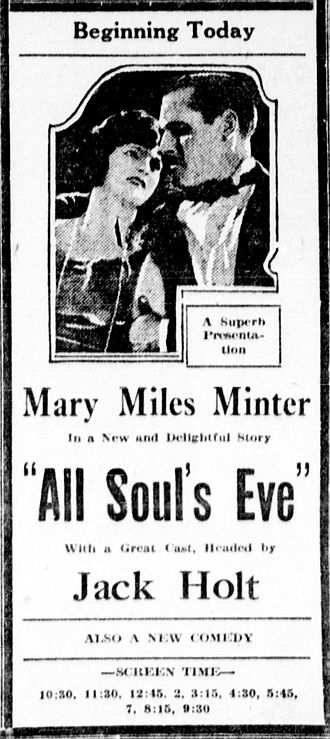 All Soul's Eve - Image: Allsoulseve 1921 newspaperad