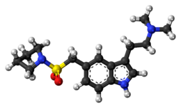 Ball-and-stick model of the almotriptan molecule