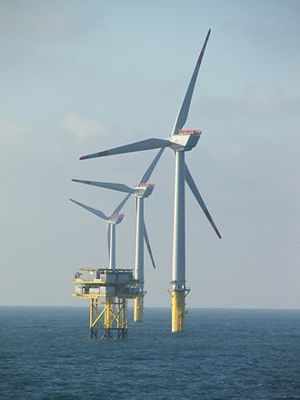 Offshore wind power - Wind turbines and electrical substation of Alpha Ventus supplied by Adwen in the North Sea