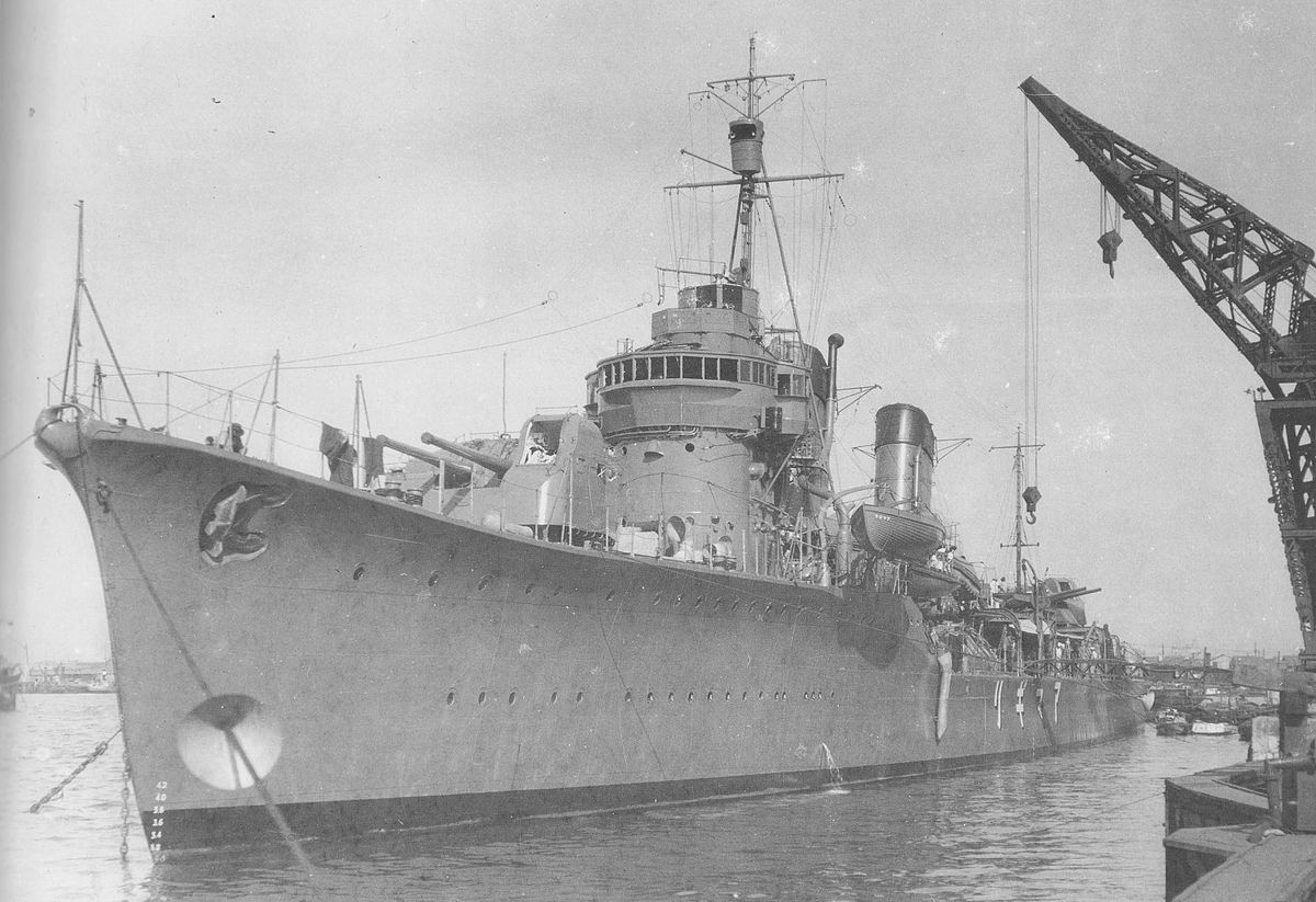 Japanese battleship in the sea, 1930s 75