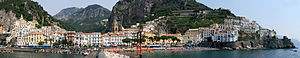 Amalfi Coast - Panoramic view of the town of Amalfi seen from the pier with the Amalfi Cathedral in the center