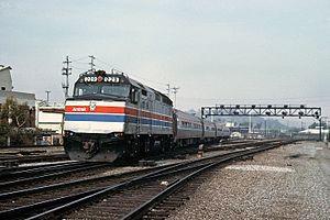 San Diegan (train) - An EMD F40PH leads a San Diegan into Union Station in Los Angeles in 1978.