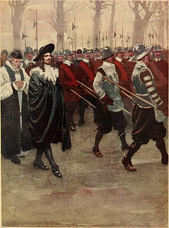Stuart period - King Charles I and the soldiers of the English Civil War as illustrated in An Island Story: A Child's History of England (1906)