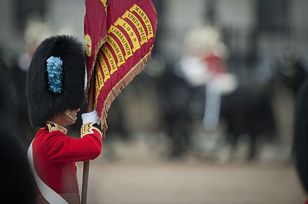 The Queen's Colour of the 1st Battalion Irish Guards, displaying some of the Regiment's battle honours. An officer of the 1st Battalion, the Irish Guards holds the Regimental Colours.jpg