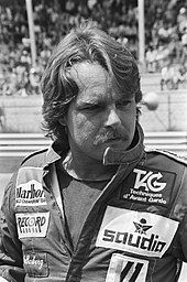 Black-and-white photograph of Keke Rosberg
