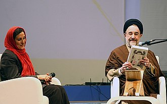 Hafez - Khatami with Fatemeh Motamed-Aria in 2007 Yalda night use Divan of Hafez for fortune telling.