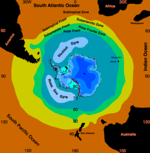 Weddell Gyre - Location of the Weddell Gyre in the Weddell Sea.